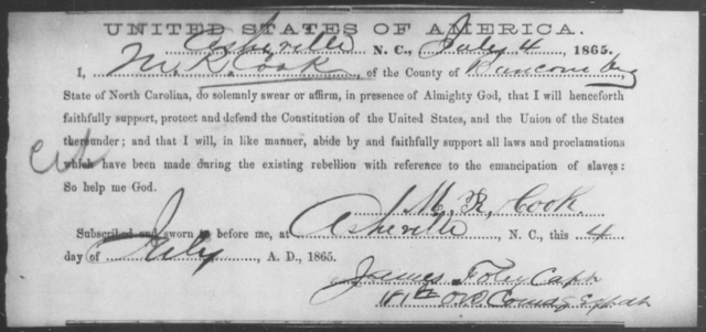 Cook, M R - State: North Carolina - Year: 1865
