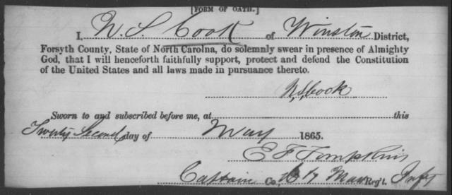 Cook, N S - State: North Carolina - Year: 1865
