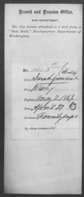 Cook, Sarah Jane - State: Washington - Year: 1863