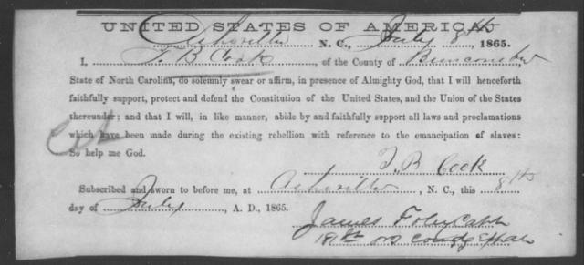Cook, T B - State: North Carolina - Year: 1865