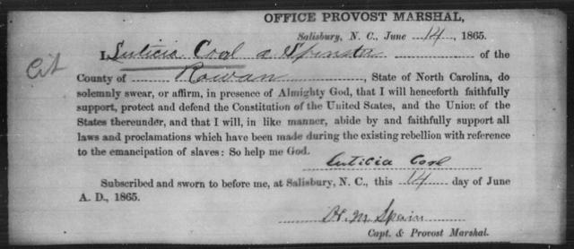 Corl, Luticia - State: North Carolina - Year: 1865