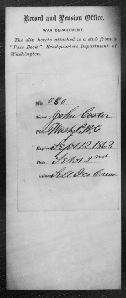 Coster, John - State: Washington - Year: 1863
