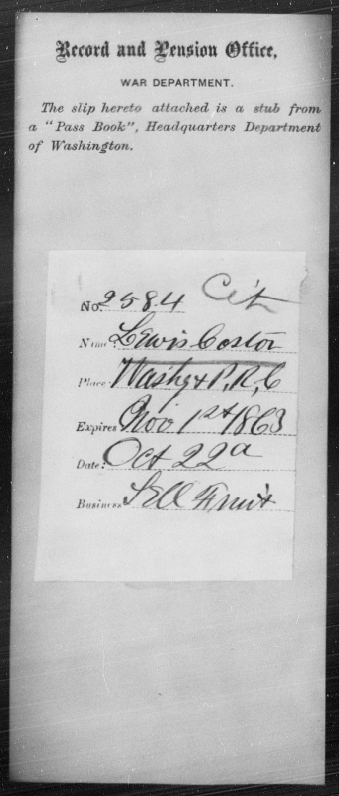 Coster, Lewis - State: Washington - Year: 1863