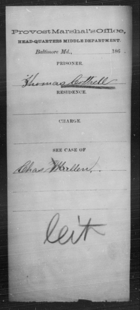 Cottrell, Thomas - State: Maryland - Year: [Blank]