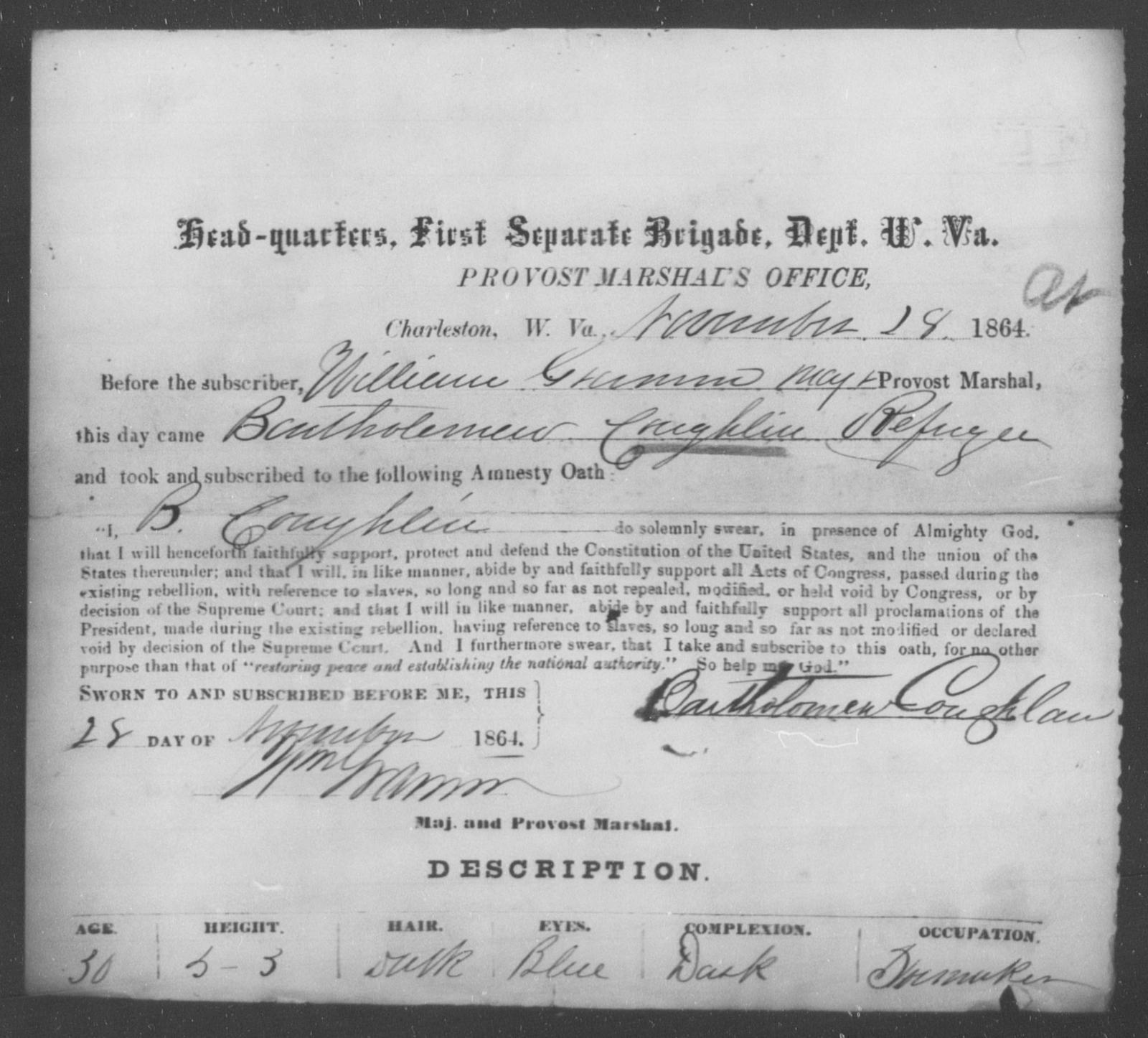 Coughlin, Bartholemew - State: West Virginia - Year: 1864