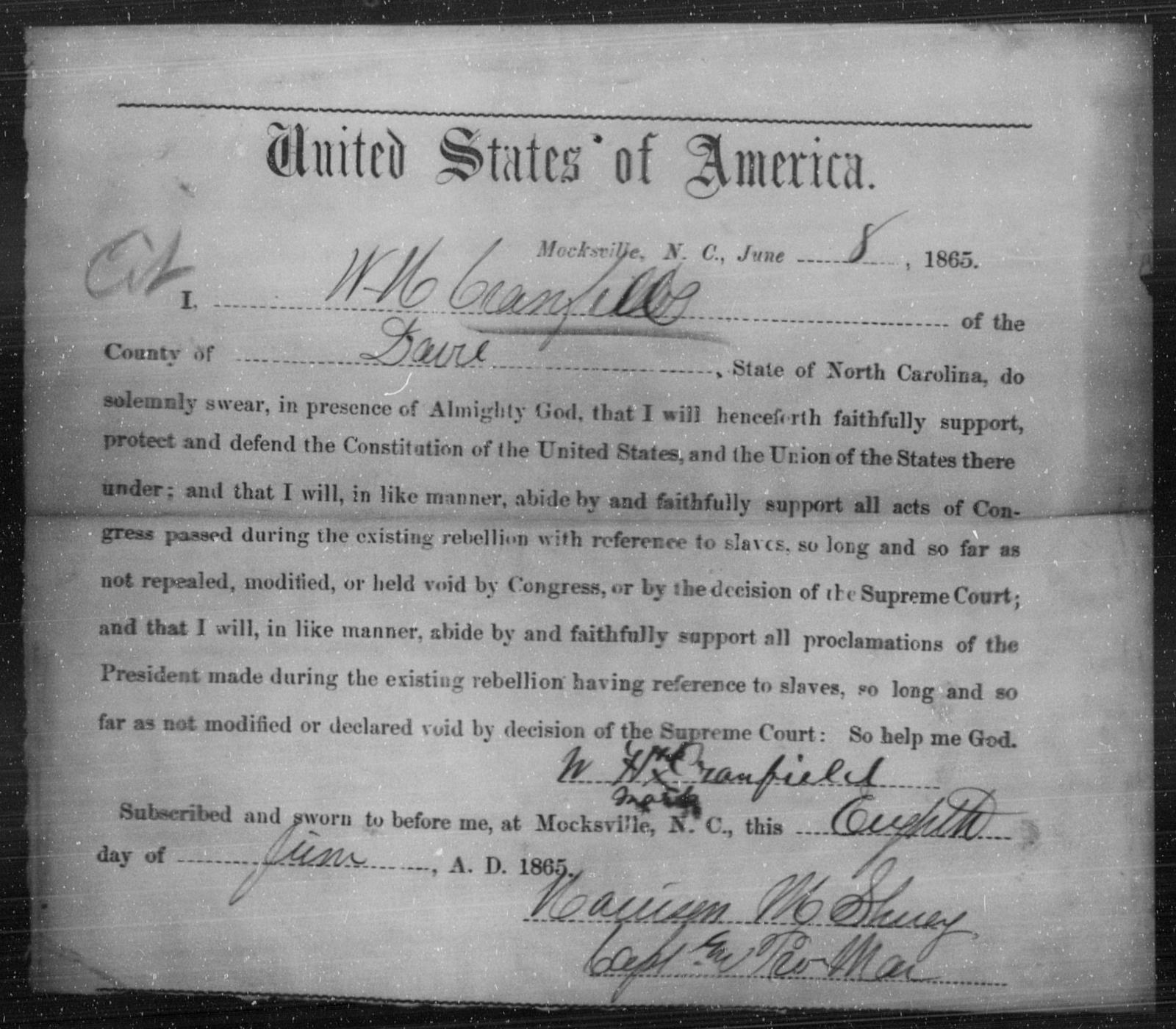 Cranfill, W H - State: North Carolina - Year: 1865