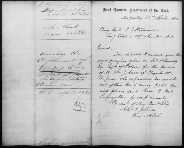 Creel, W J - State: New York - Year: 1864