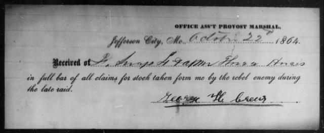 Crews, George H - State: Missouri - Year: 1864