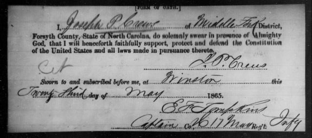 Crews, Joseph P - State: North Carolina - Year: 1865