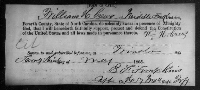 Crews, William H - State: North Carolina - Year: 1865