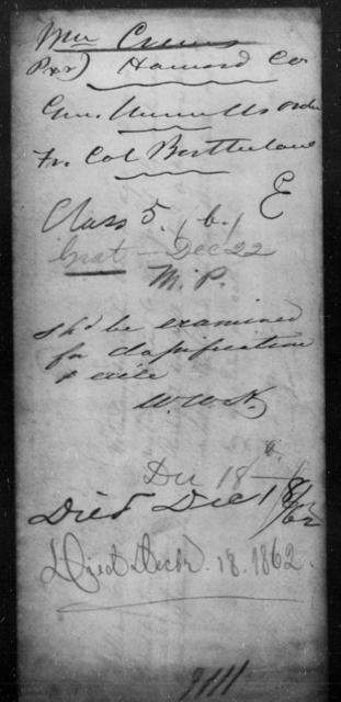 Crews, Wm - State: [Blank] - Year: 1862
