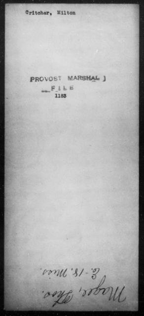 Critcher, Milton - State: [Blank] - Year: [Blank]