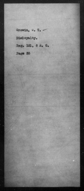 Crowin, W T - State: [Blank] - Year: [Blank]