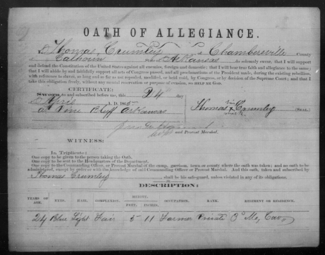 Crumley, Thomas - State: Arkansas - Year: 1865