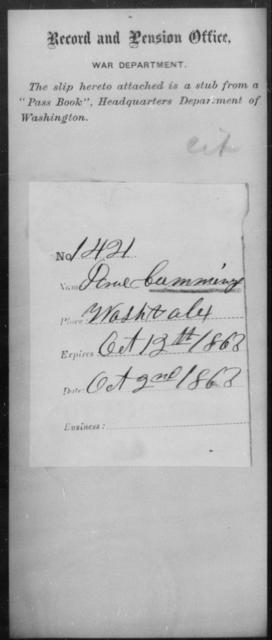 Cummings, Paul - State: Washington - Year: 1863