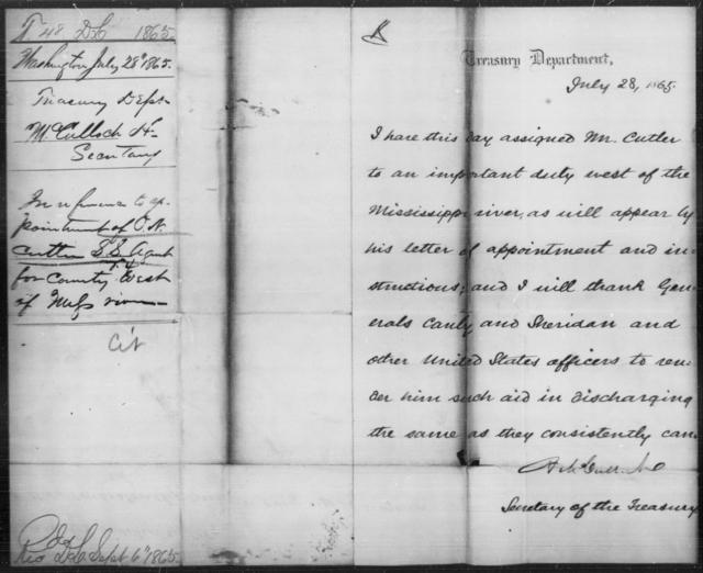 Cutler, O N - State: Washington - Year: 1865