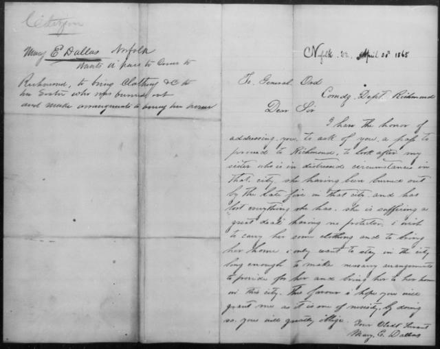 Dallas, E - State: Virginia - Year: 1865