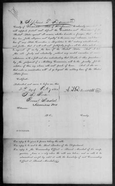 Damrell, Alphens T - State: Missouri - Year: 1862