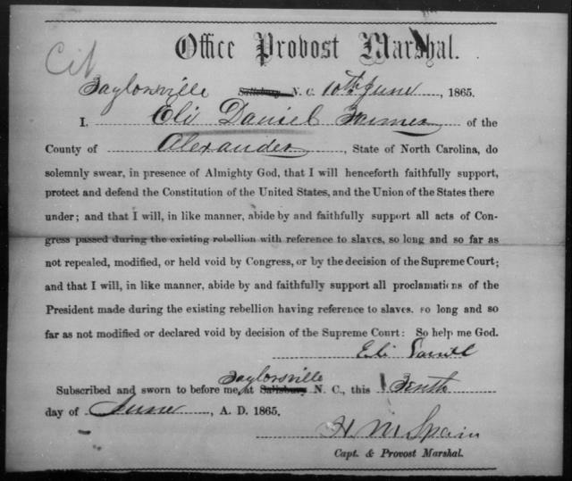 Daniel, Eli - State: North Carolina - Year: 1865