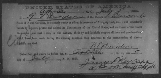 Davidson, R V - State: North Carolina - Year: 1865