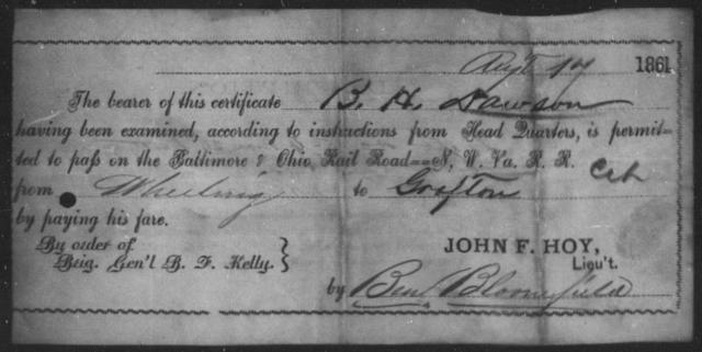 Dawson, B H - State: Ohio - Year: 1861