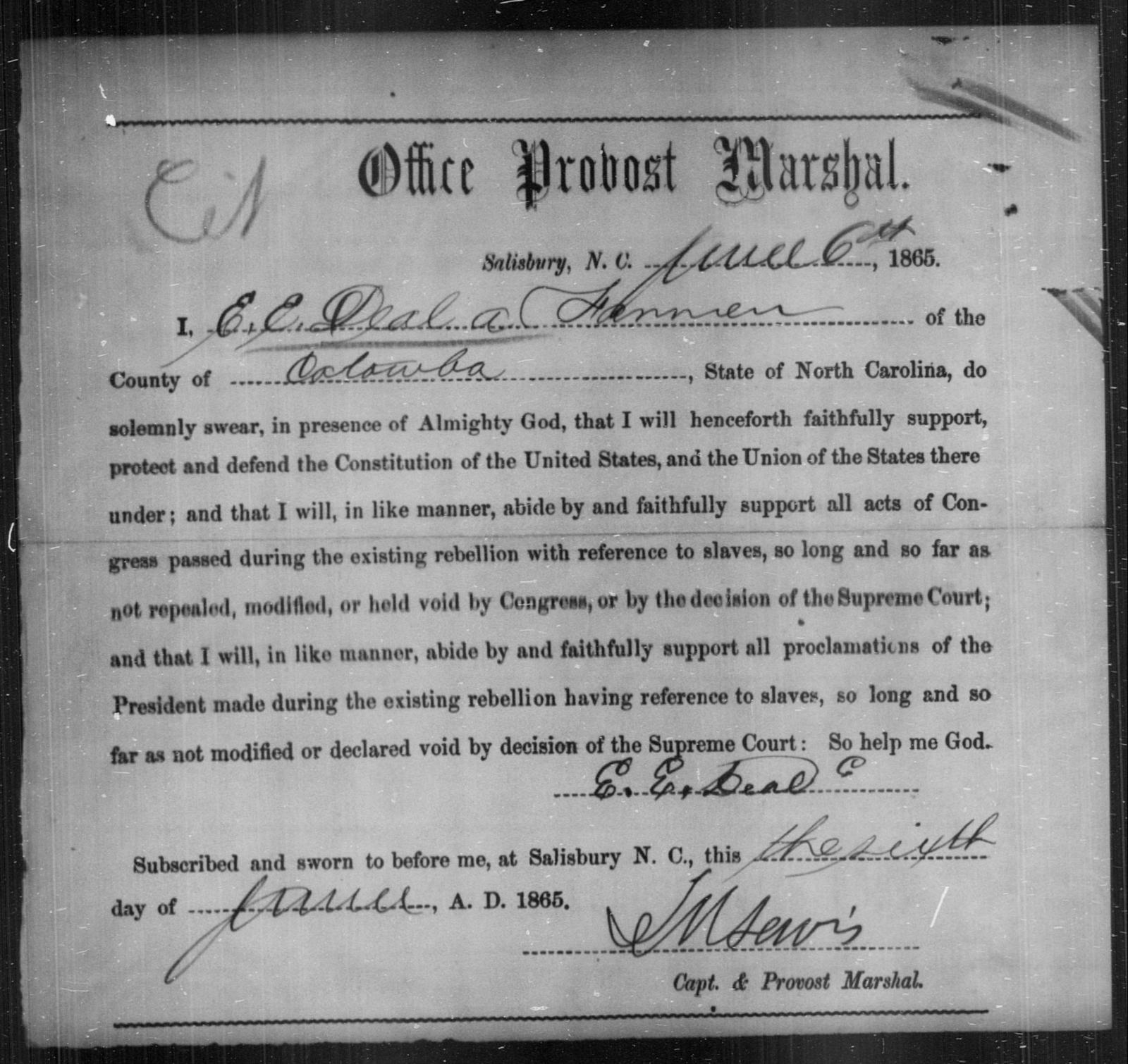 Deal, E E - State: North Carolina - Year: 1865