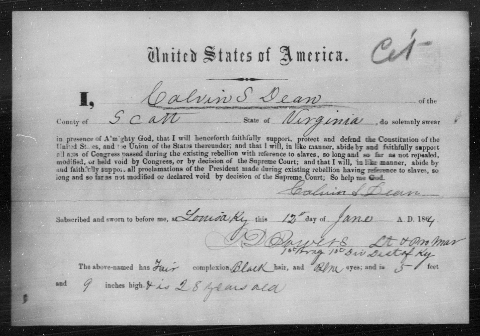 Dean, Calvin S - State: Virginia - Year: 1864