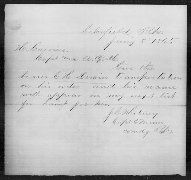 Derwin, C H - State: [Blank] - Year: 1865