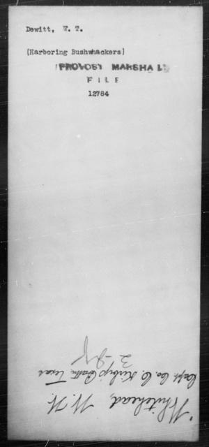 Dewitt, W T - State: [Blank] - Year: [Blank]