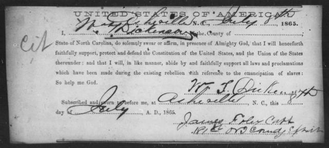 Dickenson, W T - State: North Carolina - Year: 1865