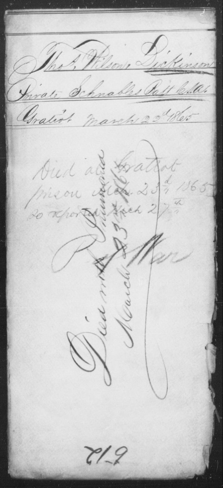 Dickinson, Thos Wilson - State: [Blank] - Year: 1865