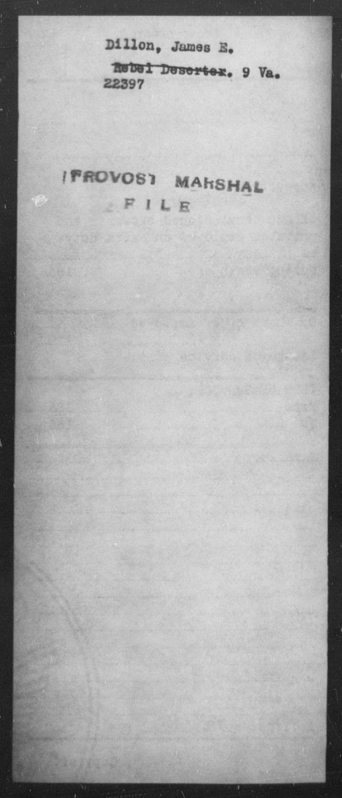 Dillon, James E - State: Virginia - Year: [Blank]