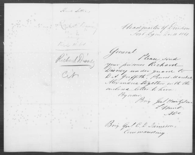 Disney, Richard - State: District of Columbia - Year: 1861