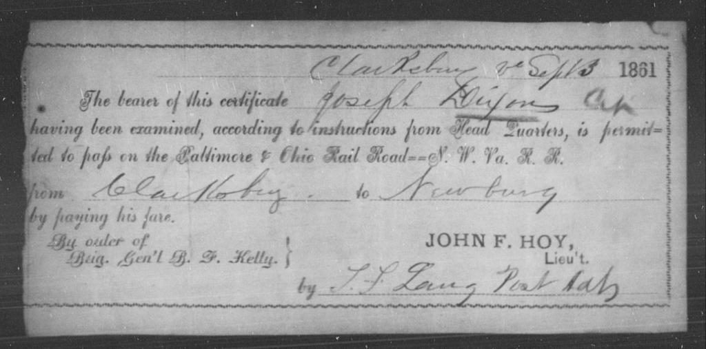 Dixon, Joseph - State: Virginia - Year: 1861