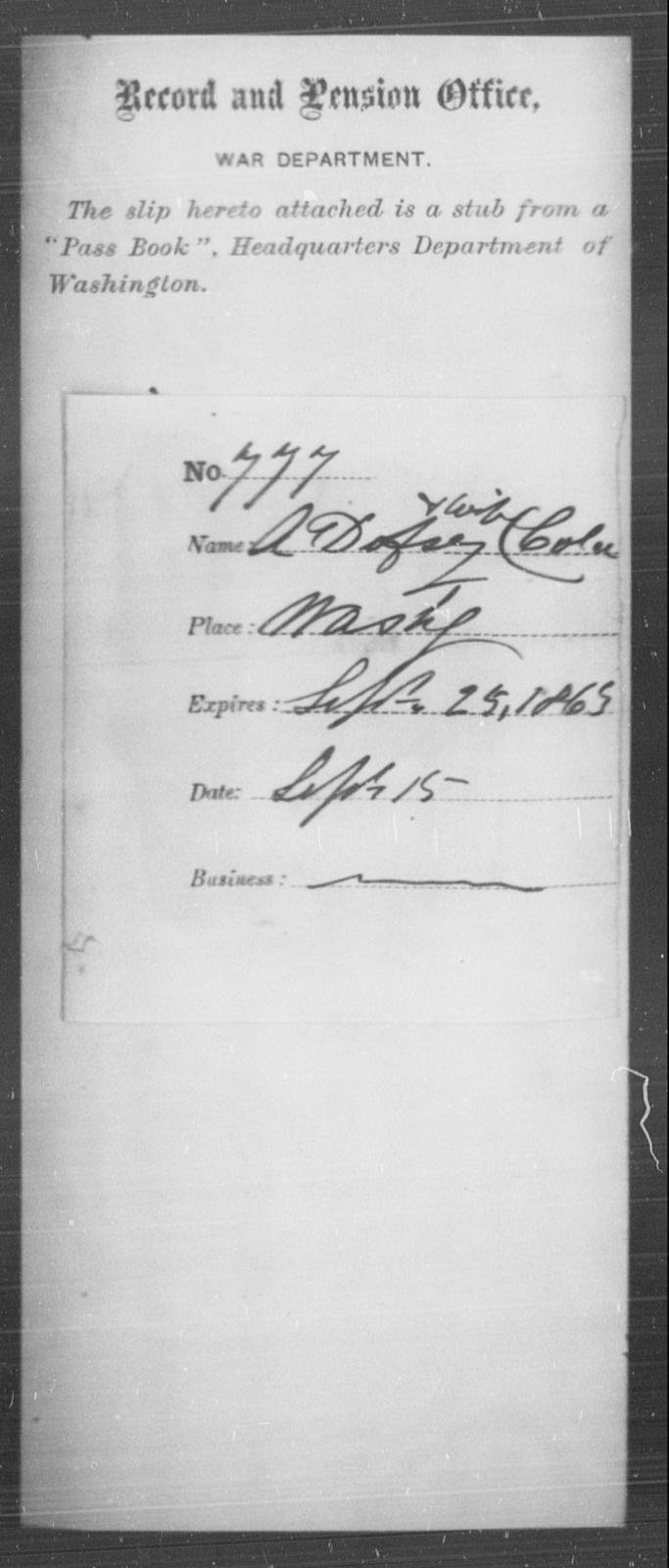 Dofsey, A - State: Washington - Year: 1863