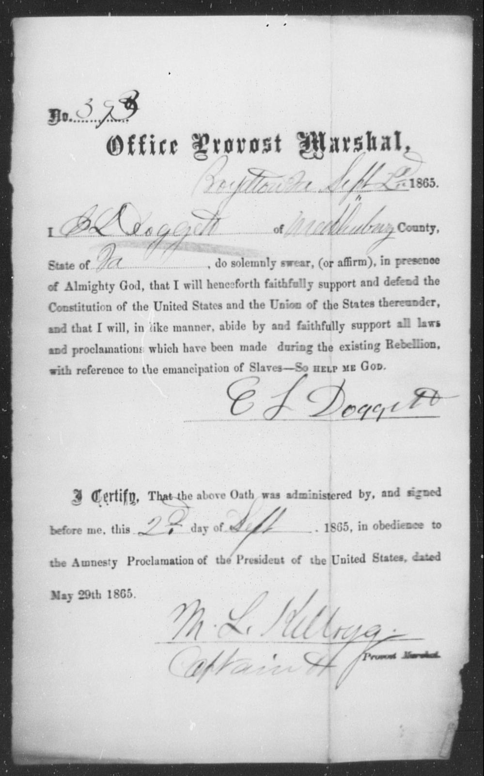 Doggett, E S - State: Virginia - Year: 1863