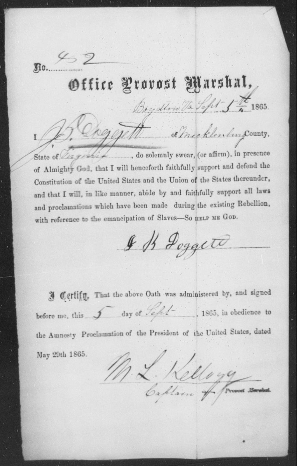 Doggett, J B - State: Virginia - Year: 1863