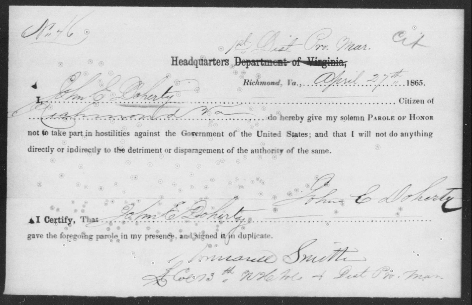 Doherty, John E - State: Virginia - Year: 1865