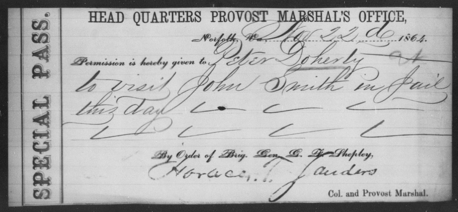 Doherty, Peter - State: Virginia - Year: 1864