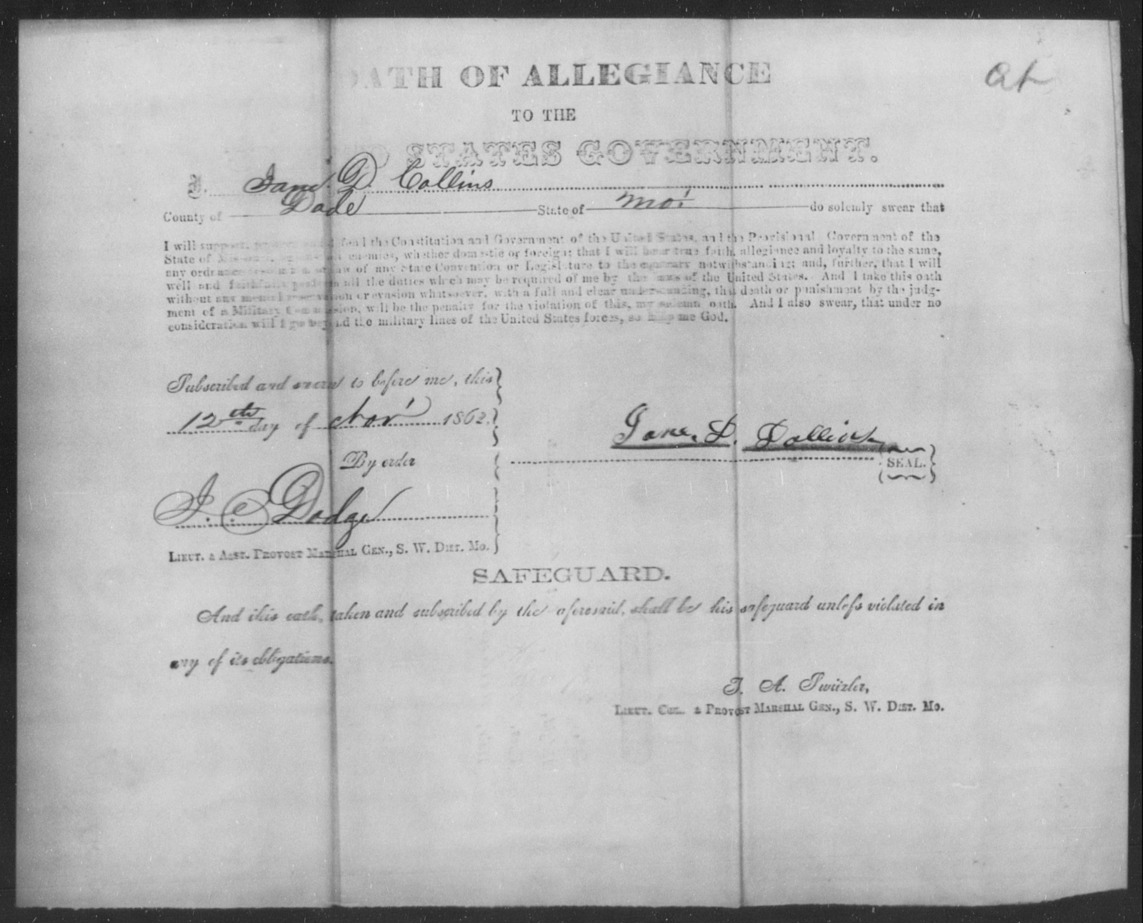Dollins, Jane P - State: Missouri - Year: 1862