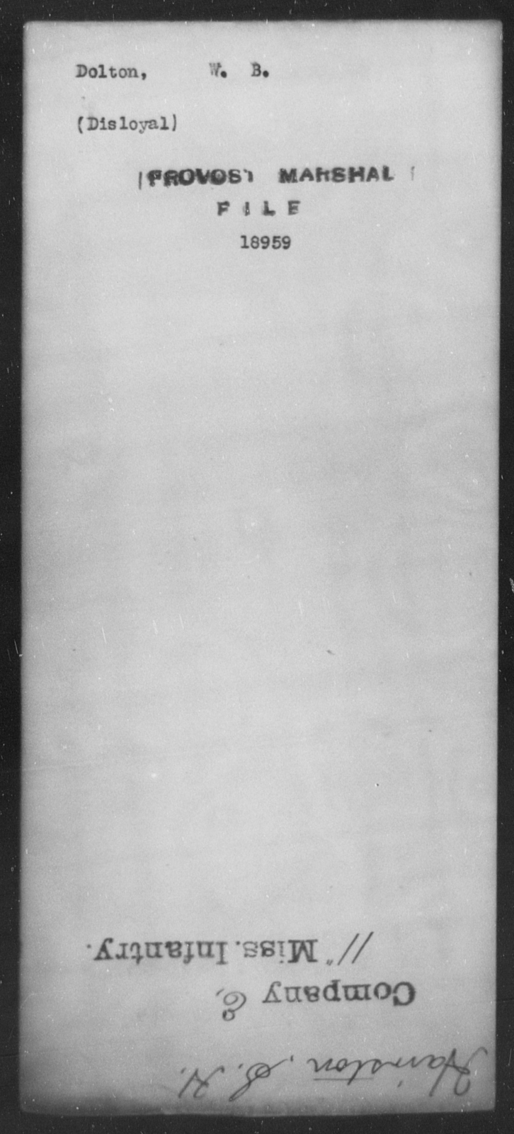 Dolton, W B - State: [Blank] - Year: [Blank]