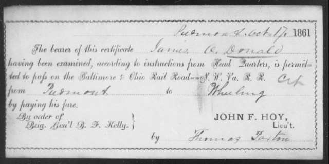 Donald, James O - State: Ohio - Year: 1861