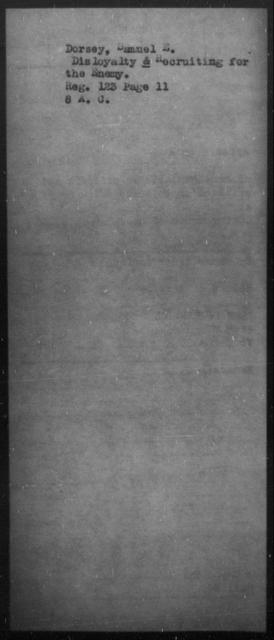 Dorsey, Samuel E - State: [Blank] - Year: [Blank]