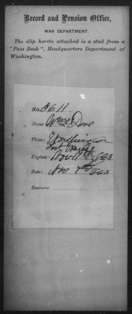 Dove, Wm L - State: Washington - Year: 1863