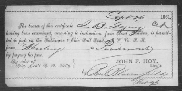 Doying, J B - State: Ohio - Year: 1861