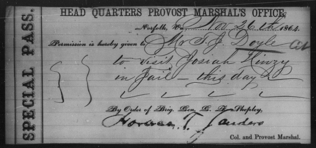 Doyle, F J - State: Virginia - Year: 1864