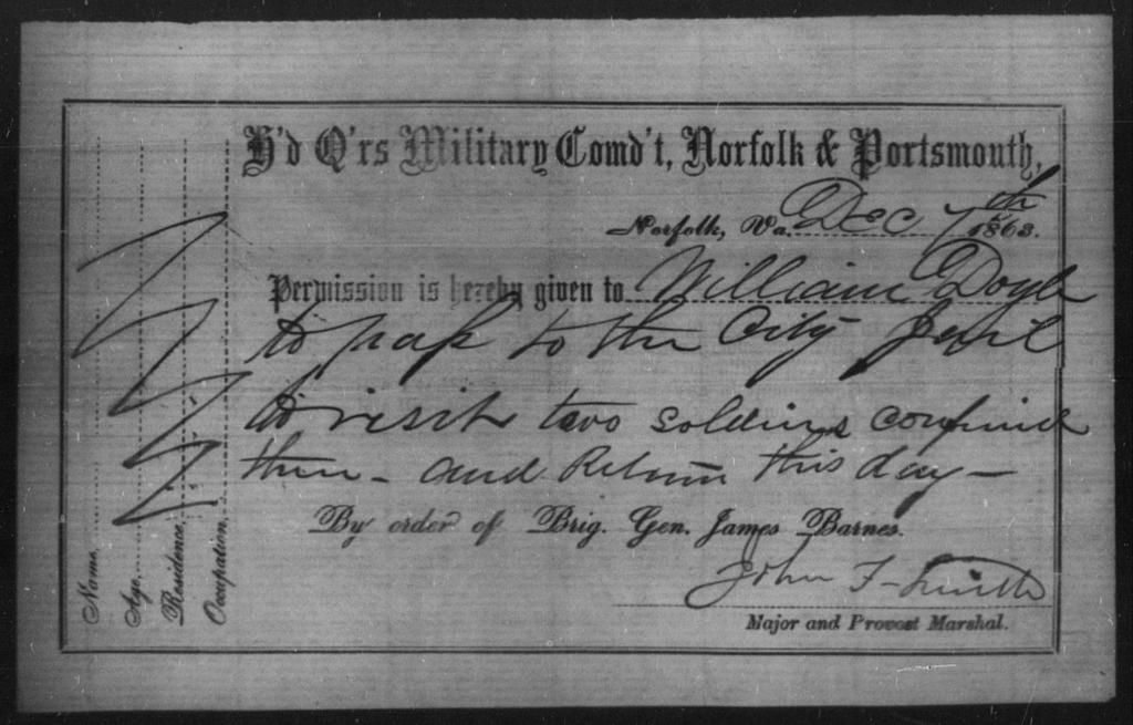 Doyle, William - State: Virginia - Year: 1863