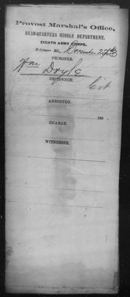 Doyle, Wm - State: Maryland - Year: 1863