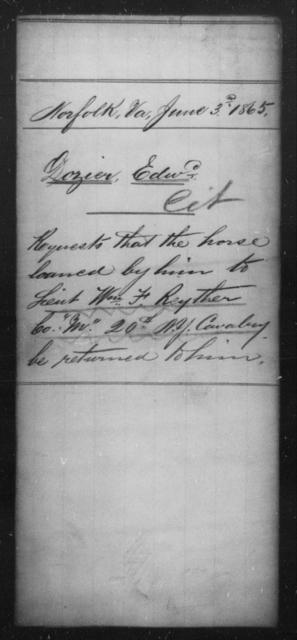 Dozier, Edwd - State: Virginia - Year: 1865