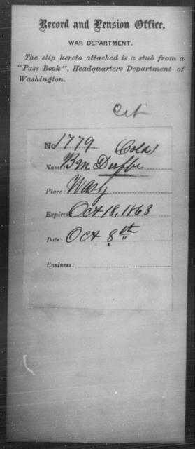 Duffee, B M - State: Washington - Year: 1863